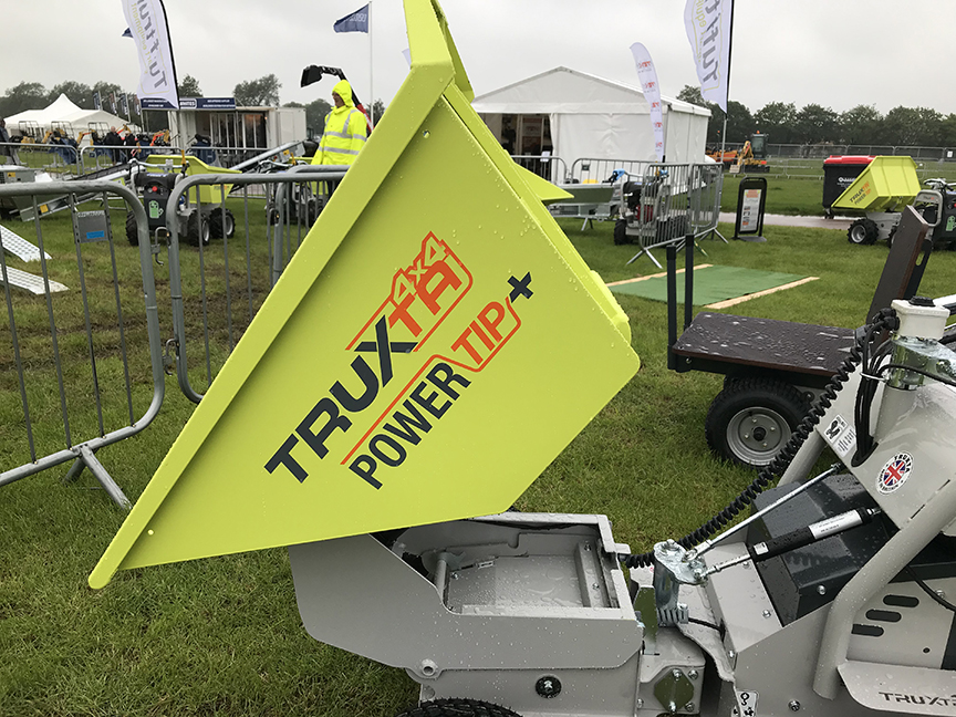 truxta power tip high tip mini dumper powered barrow