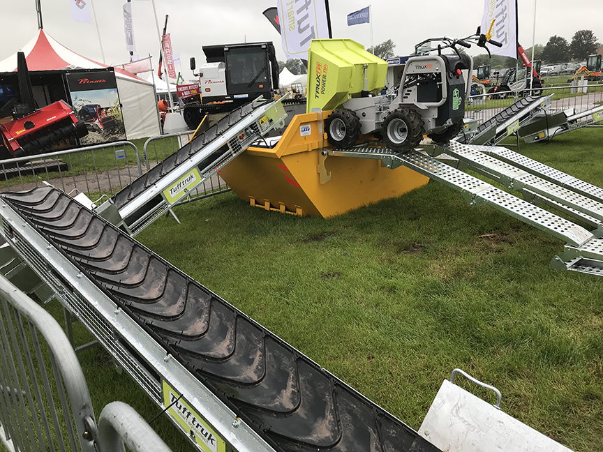 truxta mini dumper with conveyors and ramps and high tip powered barrow
