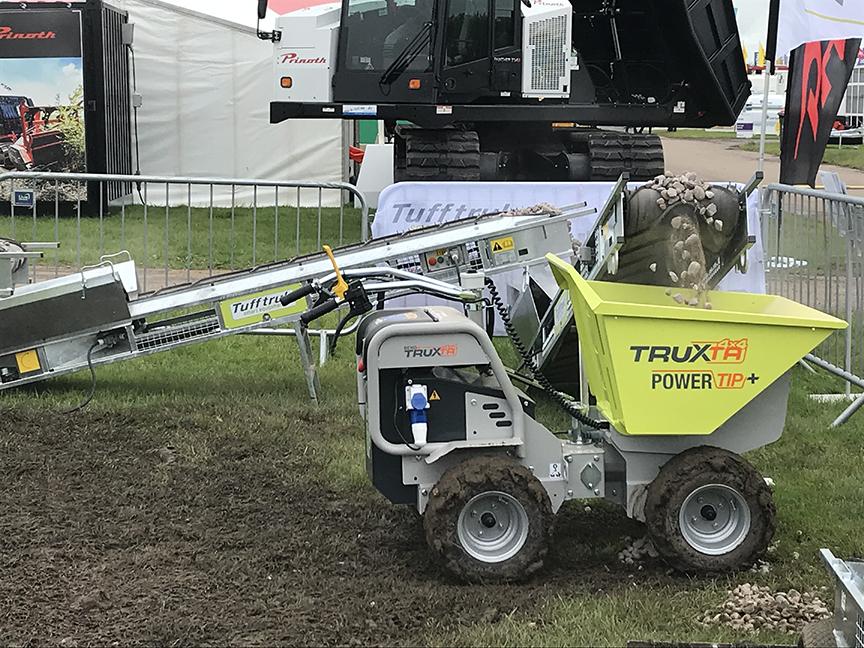 Tufftruk power tip high tip mini dumper & conveyor construction