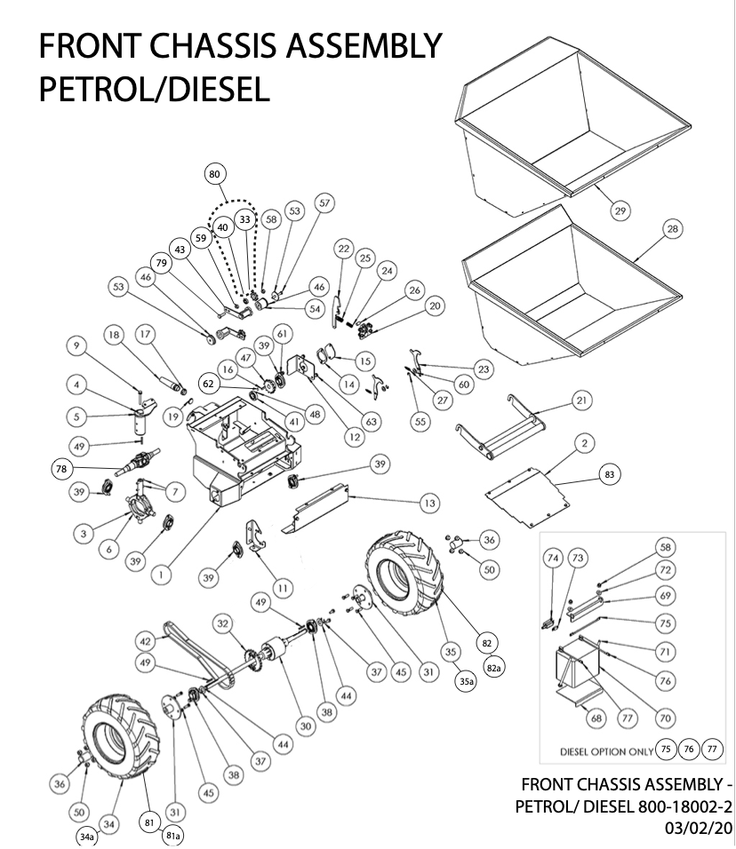 Front Chassis Petrol and Diesel Diagram and Parts