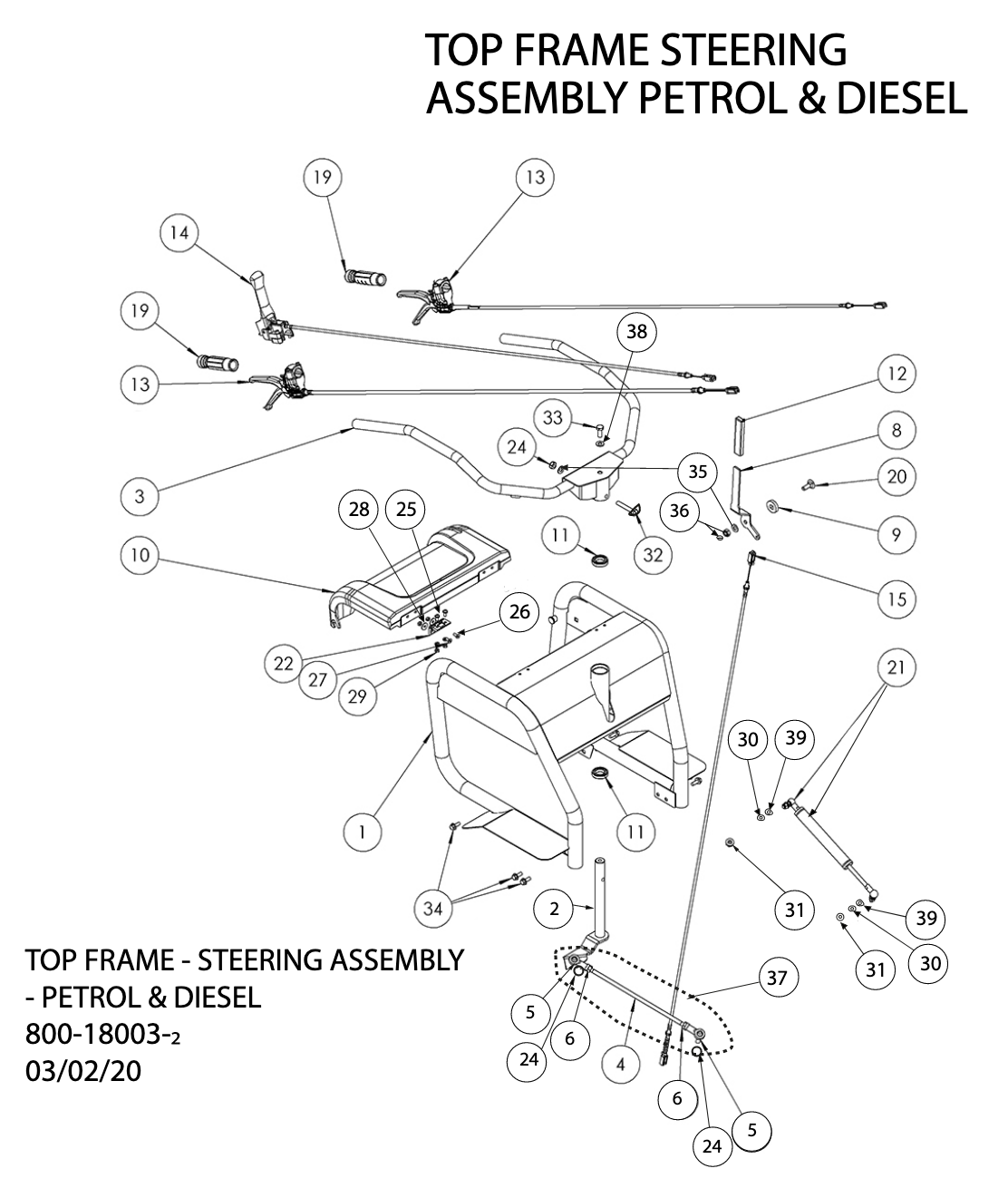 Top Frame Steering Assembly Petrol Diesel Diagram